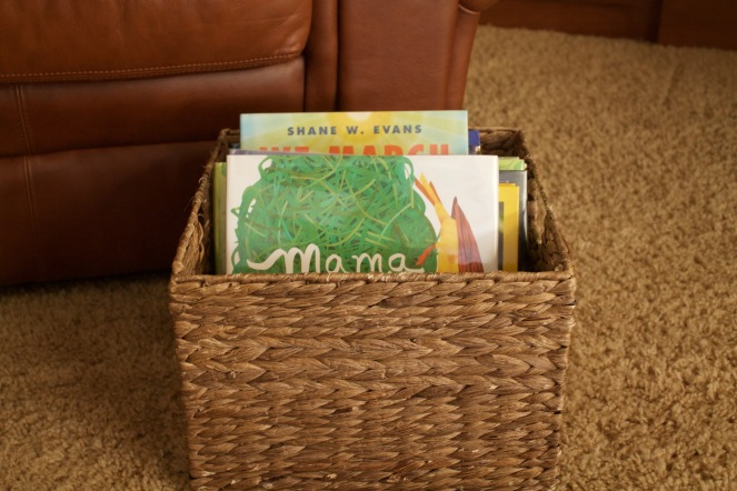 what our reading time looks like: book basket
