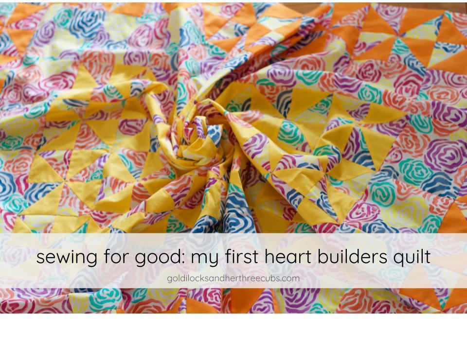 Pinwheel Heart Builders Quilt Top by goldilocks + her three cubs